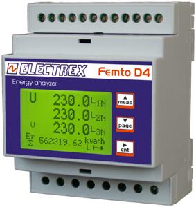 PFA6461-12 FEMTO D4 3I 70A ECT RS485 230-240V 1DI 2DO ENERGY ANALYZER