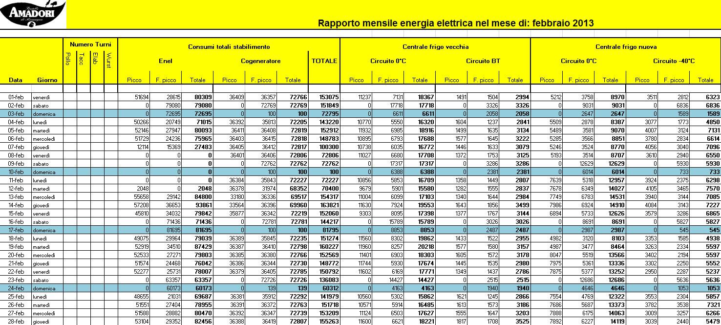 Electrex Report automatico mensile con la suddivisione dei consumi di energia elettrica suddivisi per centri di costo